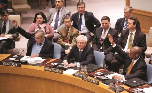 지난 4일 유엔 안전보장이사회가 시리아 사태 해결 방안에 대해 찬반투표를 하고 있다. | AFP/Getty Images