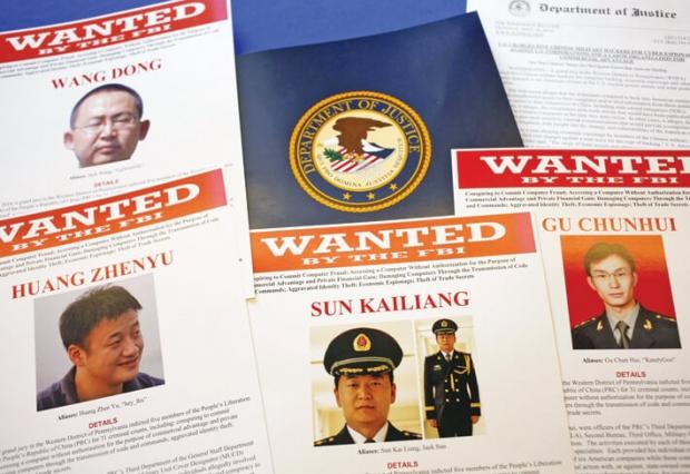 미국 연방수사국(FBI)은 지난 5월 19일 중국군 장교 5명을 산업스파이 및 무역 기밀 절도 혐의로 지명수배를 내렸다. | AP PHOTO