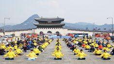 시민과 함께 한 광화문 '파룬궁 연공'