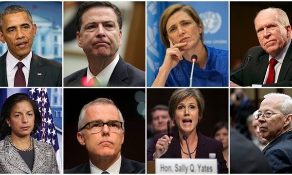 (상단 왼쪽부터) 오바마 전 미국 대통령, 제임스 코미 전 FBI 국장, 사만다 파워 전 유엔 대사, 존 브레난 전 CIA 국장, 수잔 라이스 전 백악관 국가안보보좌관, 앤드류 맥카베 전 FBI 부국장, 샐리 예이츠 전 법무부 장관, 데이나 보엔테 전 법무부 장관.   Getty Images