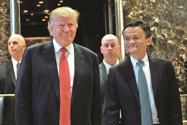 사진 2017년 1월 9일, 트럼프 미국 대통령이 뉴욕서 마윈 회장과 만나는 모습. | Getty Images
