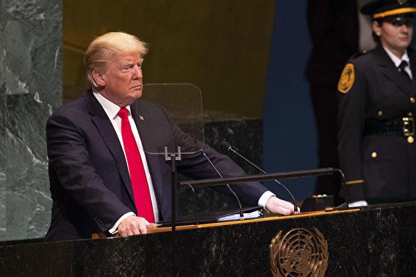2018년 9월 25일, 유엔총회에서 트럼프 미국 대통령이 연설하고 있다. | Photo by Bryan R. Smith / AFP