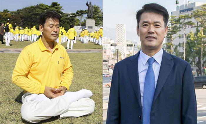 윤강원 대표는 폐암 수술로 폐를 절단했기 때문에 10미터도 걷기 힘들었으나 파룬궁을 시작한 후 축구경기를 할 수 있을 정도로 건강해졌다고 밝혔다. | [좌] 김현진 기자 [우] 전경림 기자