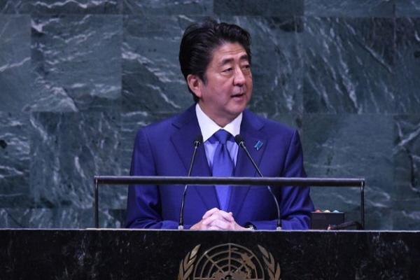 아베 신조 일본 총리는 9월 25일 뉴욕 유엔 총회 제73차 총회에서 연설.| Bryan R. Smith/AFP/Getty Images