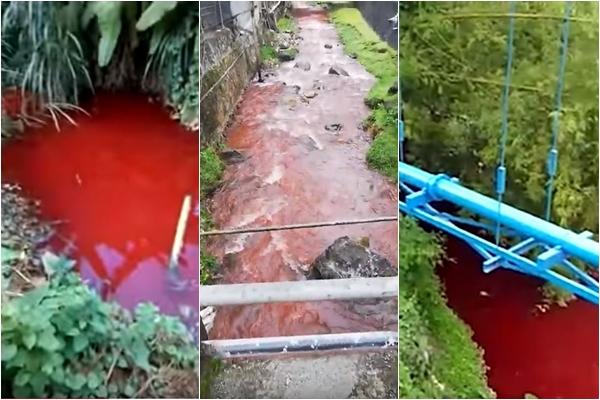 최근 몇몇 나라의 강이 핏빛으로 변해 사람들에게 공황을 일으키고 있다. | 동영상 캡처/에포크타임스 합성