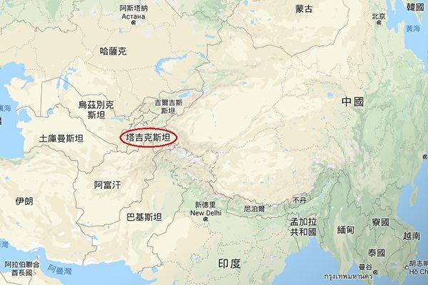 중국 공산당은 중앙아시아의 타지키스탄에 두 번째 해외 군사기지를 건설한다. 사진은 타지키스탄의 지리적 위치. | 구글 지도