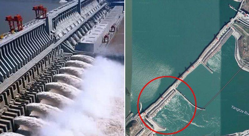 [좌] 싼샤댐 물 방류 | 바이두 [우] 변형된 싼샤댐 | 구글 위성사진
