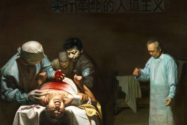파룬궁 수련자에 대한 중국의 장기적출을 그린 유화작품 '고통과 학살'   Minghui