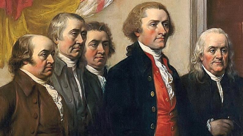 독립선언(Declaration of Independence). John Trumbull (1819) 작. 왼쪽부터 존 아담스(John Adams), 토마스 제퍼슨(Thomas Jefferson), 벤자민 프랭클린(Benjamin Franklin), 로저 셔먼(Roger Sherman), 로버트 리빙스톤(Robert Livingston) /Public domain