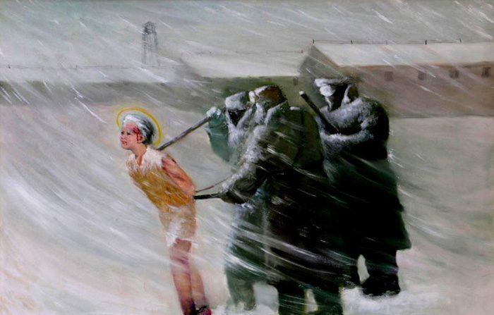 중국의 파룬궁 박해를 그린 작품  야오충치(姚重琪). 유화   제공=Faluninfo