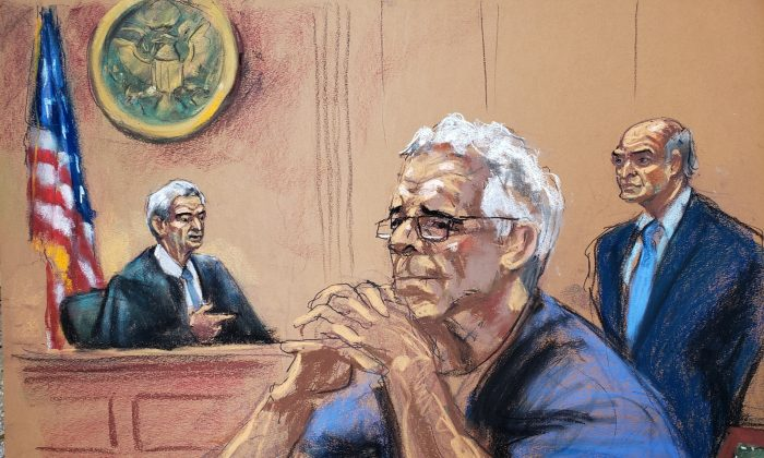 제프리 엡스타인이 리처드 버먼 판사 앞에서 자신의 변호사 마틴 와인버그와 함께 자신의 성매매 사건을 심리하고 있다. 뉴욕 법정 스케치. 2019년 7월 31일.   Reuters/Jane Rosenberg=Yonhapnews(연합뉴스)