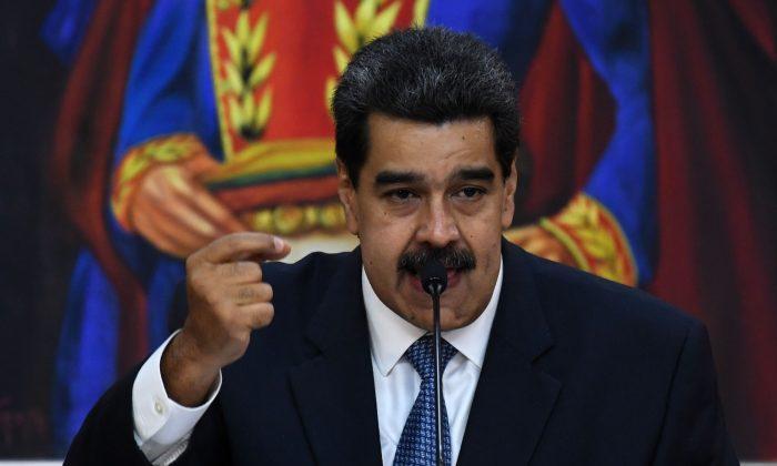 니콜라스 마두로 베네수엘라 정권 수장이 카라카스 대통령궁에서 연설하고 있다. 2019년 6월 27일.(Yuri Cortez/AFP/Getty Images)