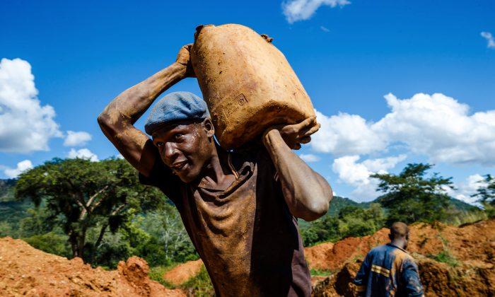 짐바브웨 전 대통령의 부인 그레이스 무가베가 소유한 농장에서 광부가 광석을 운반하고 있다. 2018.4.5 | Jekesai Njikizana/AFP/Getty Images