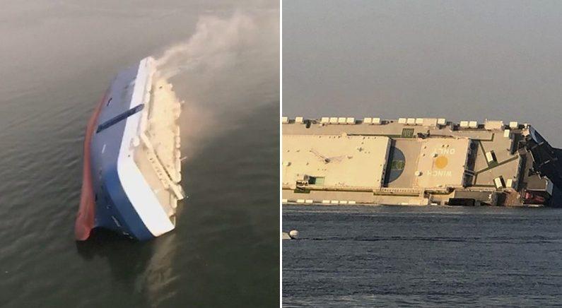 [좌][우] 전도된 현대 글로비스 선박 | 연합뉴스