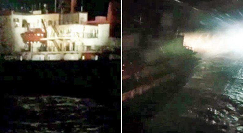 [좌] 정선명령을 받은 러시아 어선 [우] 물대포를 쏘며 저항하는 러시아 어선 | 남해해양청 제공
