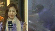 태풍 '링링' 위력 보여주려고 '인공 태풍'에 온몸 던진 기상캐스터의 최후 (영상)