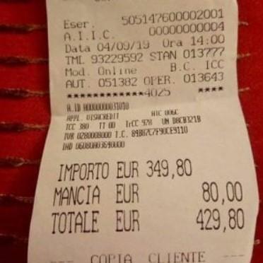 로마의 한 음식점에서 바가지 피해를 본 일본인 관광객이 공개한 영수증. | 라 레푸블리카=연합뉴스