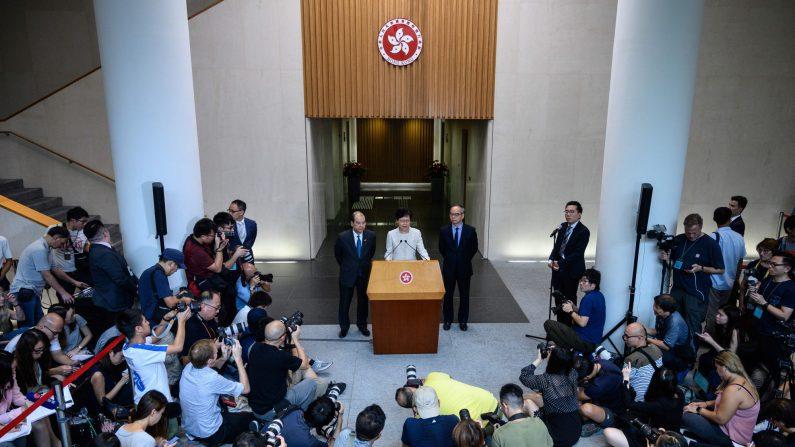 전날 송환법 철회 발언 이후 기자회견을 진행한 캐리 람 홍콩 행정장관 2019.9.5 | Philip FONG/AFP=연합뉴스