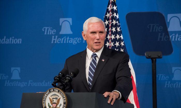 마이크 펜스 부통령이 미국-멕시코-캐나다 무역협정(USMCA)을 추진하기 위해 워싱턴 헤리티지재단에서 연설하고 있다. 2019.9.17. | Erin Granzow/The Heritage Foundation