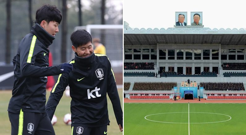 [좌]손흥민과 이강인 [우]김일성 경기장 | 연합뉴스