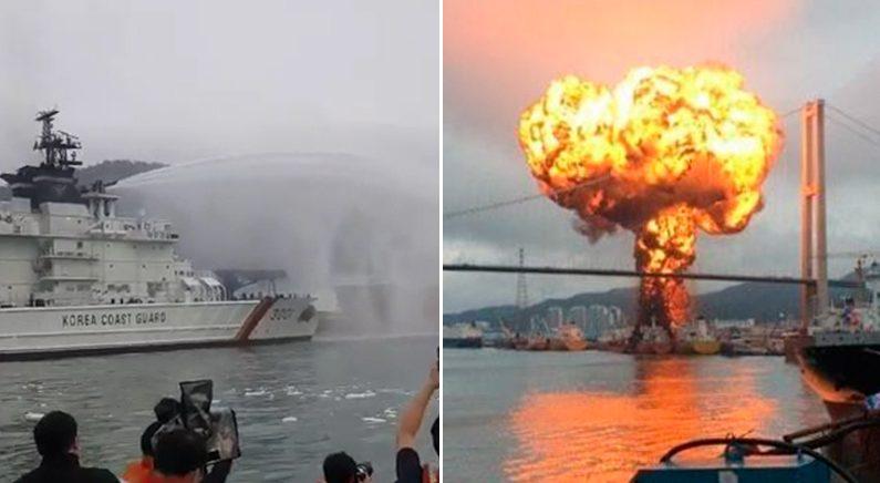 [좌]화재 진압중인 해경 | 연합뉴스 [우]대형 화재 폭발 | Youtube '울산매일 U TV'
