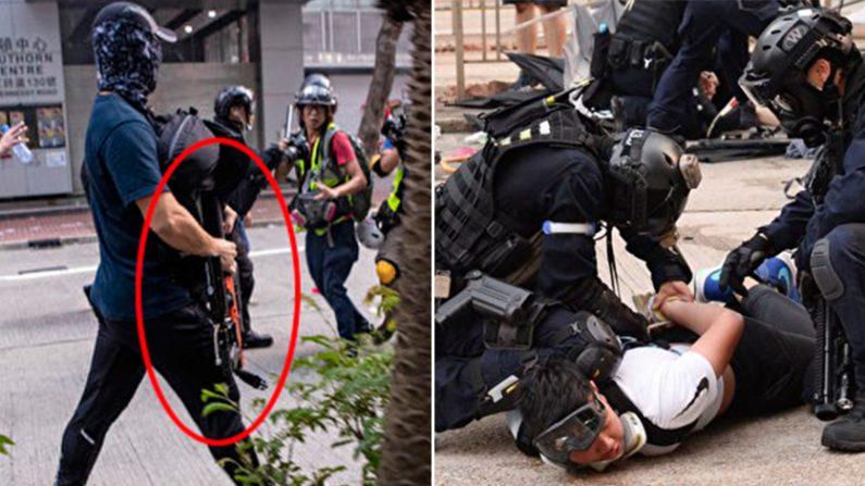 지난달 29일 홍콩 경찰이 사복경찰을 시위대에 위장투입하는 등 폭력진압으로 물의를 빚었다. | 에포크타임스