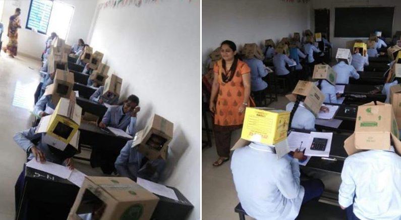 인도 대학교서 '종이상자' 머리에 쓰고 시험…커닝 방지 | @ANI