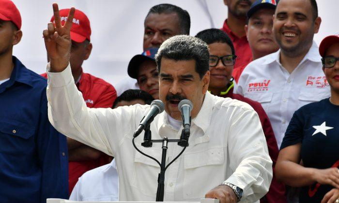 베네수엘라 카라카스에 소재한 미라플로레스 대통령궁에서 열린 집회에서 니콜라스 마두로 베네수엘라 대통령이 연설하고 있다. 2019. 3. 9. | Yuri CortezY/AFP/Getty Images