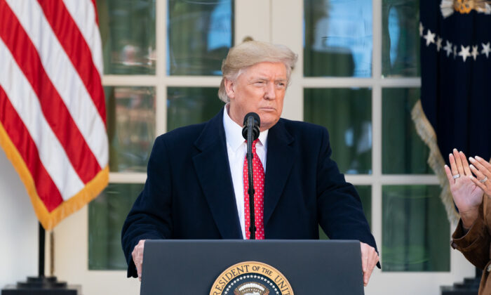 도널드 트럼프 대통령이 미국 백악관 로즈가든에서 연설하고 있다. 2019. 11. 26.   Andrea Hanks/White House