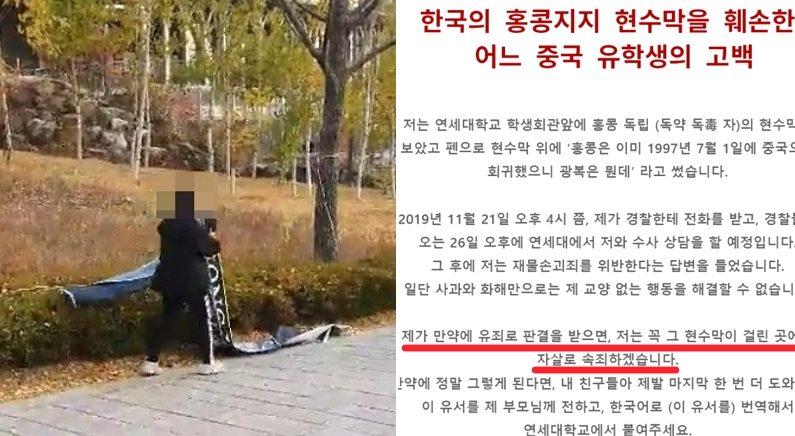 [좌] '홍콩을 지지하는 연세대 한국인 대학생들', [우] Twitter 'krstandwithhk'