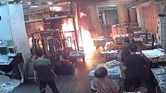 홍콩 시위대로 분장한 괴한 4명, 에포크타임스 홍콩지사 인쇄소에 방화