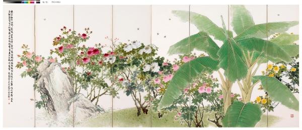 장우성, 장미와 파초, 연도미상, 종이에 수묵채색, 132x344cm, 개인소장
