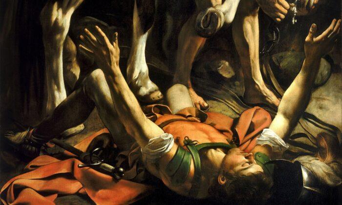 카라바조(Caravaggio)의 '다메섹 도상에서의 개종' 부분, 1601년, 캔버스에 유채, 이탈리아 로마 산타 마리아 델 포폴로 성당 체라시 예배당   Public Domain