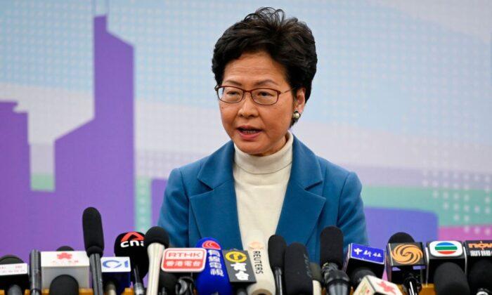 캐리 람 장관인 16일 베이징에서 기자회견에 참석해 시진핑 중국 공산당 총서기와의 면담 결과를 전하고 있다. | WANG ZHAO/AFP via Getty Images