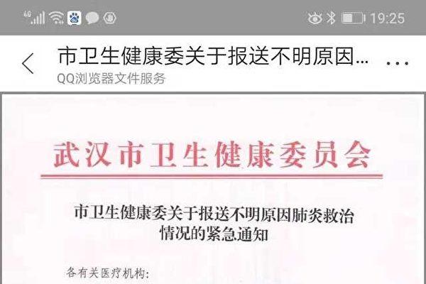 우한시 보건당국이 발표한 '원인 불명의 폐렴 치료에 관한 통지' | 중국 온라인 화면 캡처
