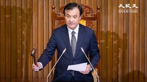 쑤자취안(蘇嘉全·63) 입법원장이 반침투법 가결을 선언하고 있다. | 에포크타임스