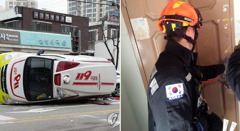 [좌] 119 구급차 추돌사고 | 강릉소방서 [우] 허위신고에 출동한 소방대원들 | 강원도소방본부