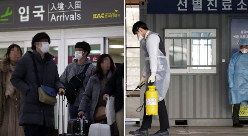 [좌] 김포공항에서 마스크를 쓴 이용객들 | 연합뉴스 [우]  17번째 확진자가 입원한 경기 고양 명지병원 | 뉴스1