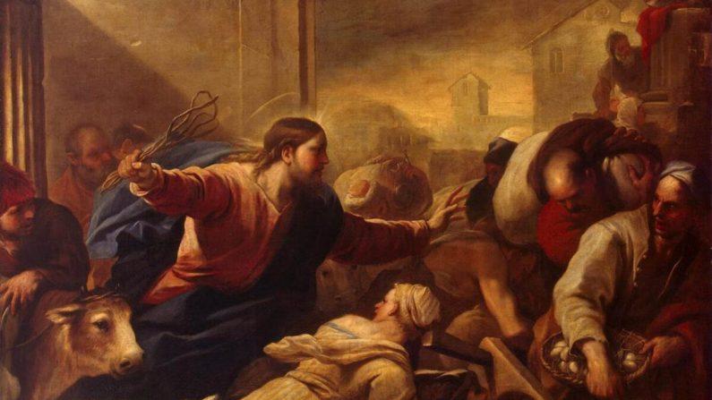 조르다노의 '성전에서 환전상을 내쫒는 그리스도' 부분. 1675년, 캔버스에 유채, 198×261cm, 상트 페테르부르크 에르미타쥬 미술관.  Public Domain
