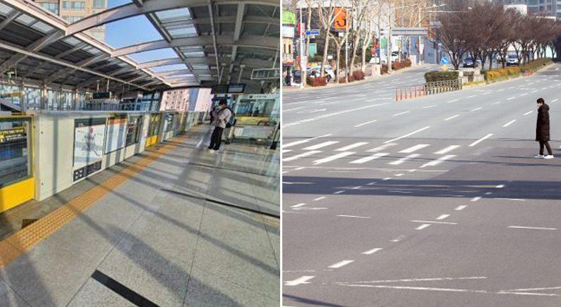 [좌] 한산한 대구 지하철역 [산한 대구 지하철역 [우] 대구의 중심도로인 달구벌대로 청라언덕역 부근 | 연합뉴스