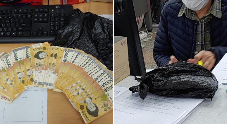 [좌] 검은색 봉투에 들어있던 500만원 [우] 500만원이 들어있던 검은색 봉투 | 인천시 부평구 제공
