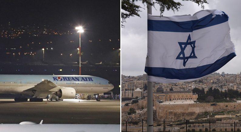 [좌] 이스라엘 텔아비브 벤구리온 국제공항에 한국에서 출발한 여객기 한 대가 착륙한 뒤 정차해 있다 [우] 예루살렘 구시가지   연합뉴스