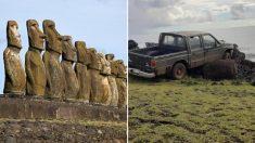 주민 트럭에 받혀 '와르르' 무너진 칠레 이스터섬 모아이 석상