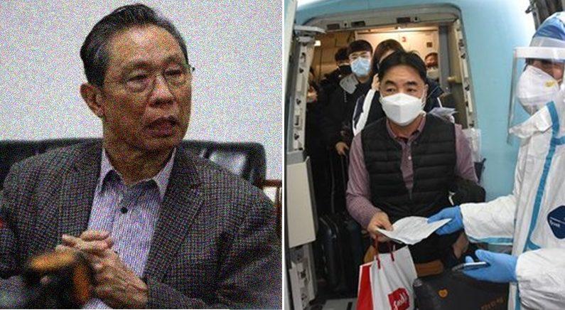 [좌] '코로나가 외국 기원설'을 내세운 중난산 교수 | [우] 중국 칭다오의 공항에서 비행기 승객을 대상으로 체온 검사를 하고 있다 | 신화망 캡처