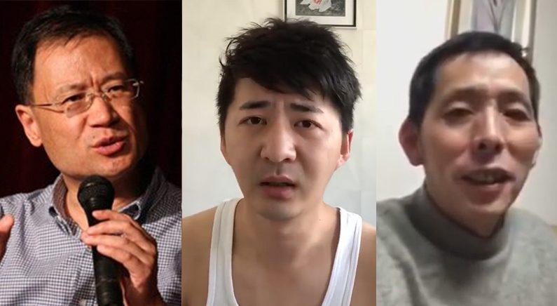 중국에서 우한폐렴 사태에 대해 정부를 비판하거나 실상을 알렸다가 실종된 인물들. 왼쪽부터 중국 칭화대 법대 쉬장룬, 변호사 출신 시민기자 천추스, 의류 판매업자 출신 시민기자 팡빈 | 영상 캡처