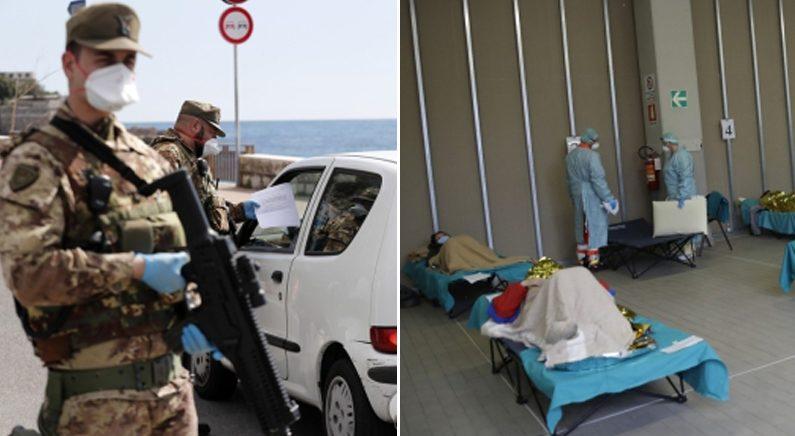 [좌] 프랑스-이탈리아 국경에서 '코로나19' 검문하는 군인들 [우] 이탈리아 응급의료시설 병상에 누워있는 코로나19 환자들 | 연합뉴스