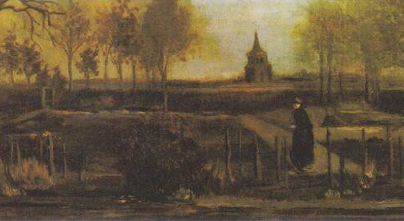 도난당한 빈센트 반 고흐의 '봄 뉘넌의 목사관 정원'(Parsonage Garden at Nuenen in Spring, 1884)   위키피디아