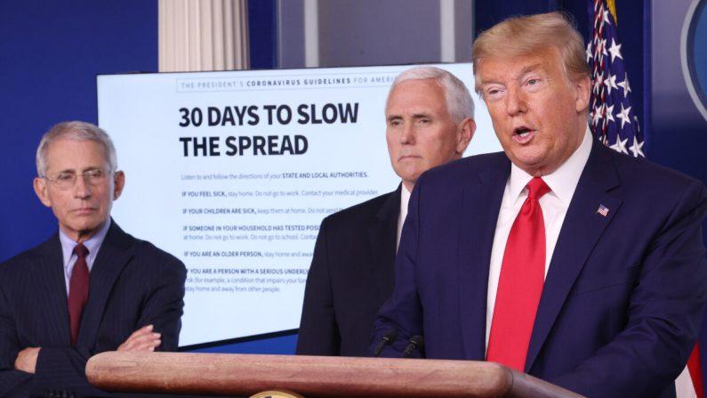 2020년 3월 31일 백악관 브리핑에서 트럼프 대통령(우측)이 발언하고 있다. | Win McNamee/Getty Images