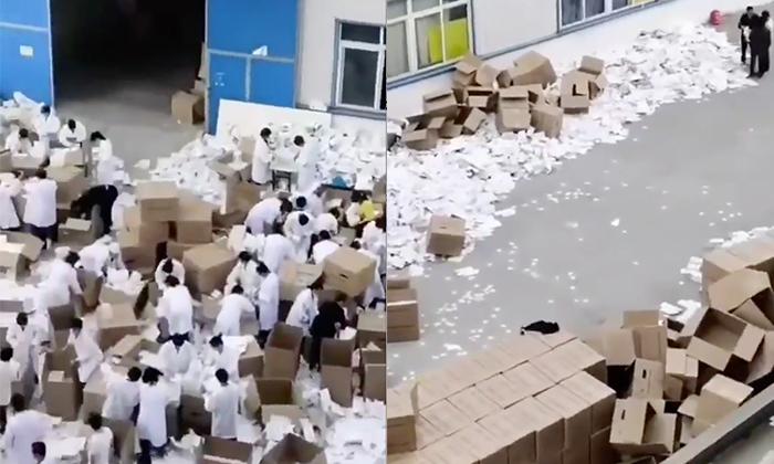 중국 안후이성 안칭시의 부도난 마스크 제조업체 | 영상캡처