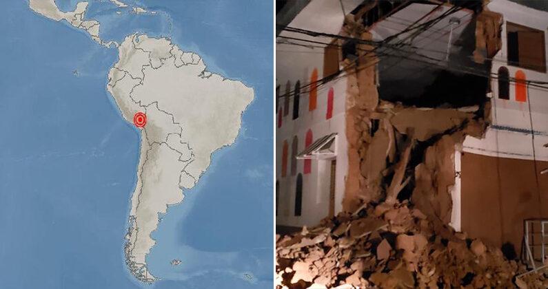 [좌] 5월 31일 페루 규모 6.0 지진 발생 지점   기상청  [우] 지난해 5월 규모 8.0 지진 발생 당시 무너진 페루의 한 주택   연합뉴스